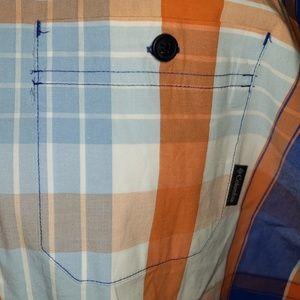 Columbia Shirts - Columbia orange white blue plaid short sleeve